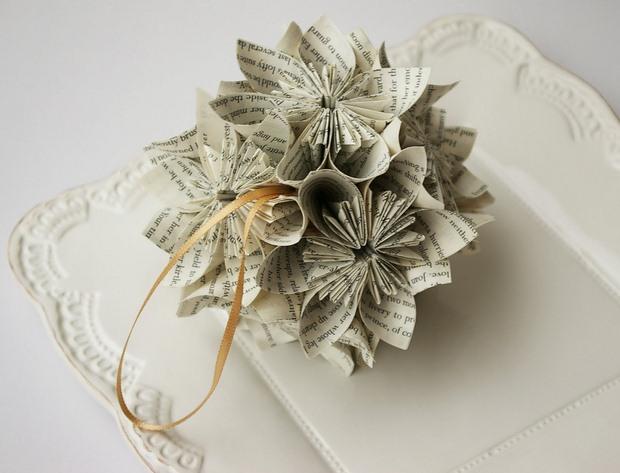 página del libro roseta adornos de navidad de artesanía pequeña bola de árbol reutilizado ideas de decoración de papel