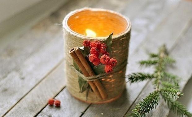 tarro de cristal artesanía de Navidad arándanos vela cuerda decoración canela