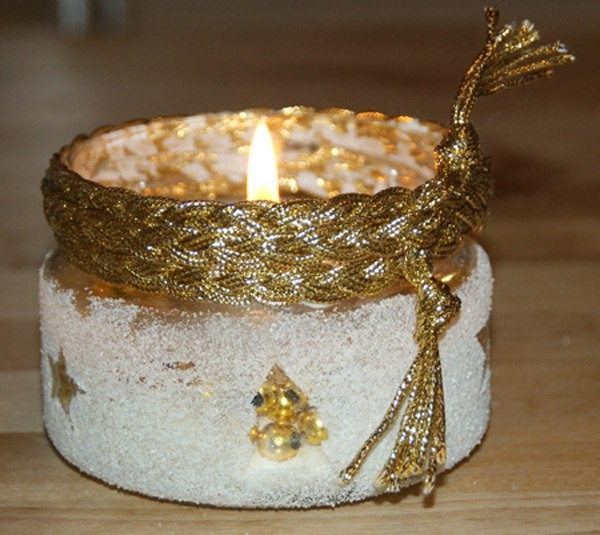 tarro de cristal artesanía de Navidad gliter ideas de la cinta de oro de la vela decorativa nieve