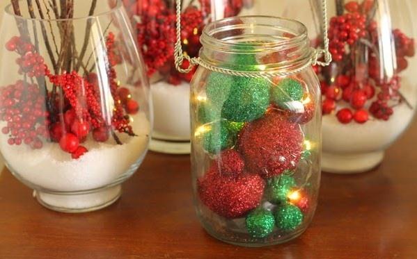 GLITER tarro de cristal artesanía de Navidad bolas de arándanos reutilizados ideas de decoración