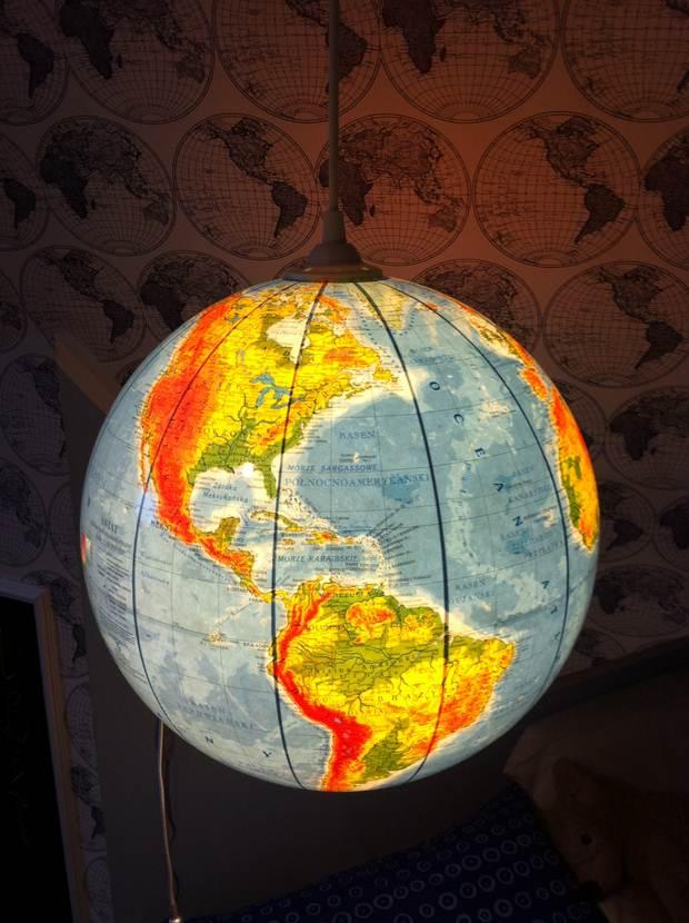 upcycled globo del mundo creativo de bricolaje colgante lámpara colgante de proyecto