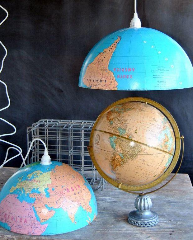 upcycled globo del mundo colgante casera luces de decoración de las ideas