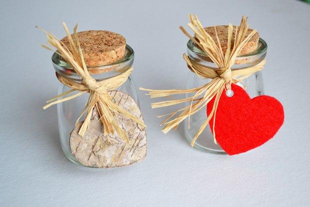 valentines day artesanía de mini tarros de cristal del corazón adornos de cinta de rafia de corcho del grifo