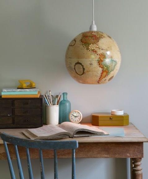 upcycled globo del mundo silla de escritorio luces colgantes de la vendimia decoración de interiores