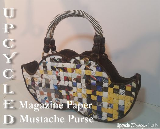 Finished magazine paper mustache purse