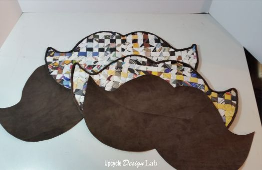 Lining for mustache purse cut from brown suede