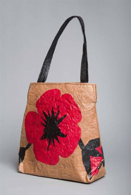 """HFR Designs wearable art """"Poppies"""" purse made from plastic bags."""
