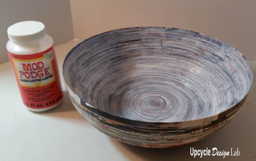 Adding Mod Podge to paper quilled bowl