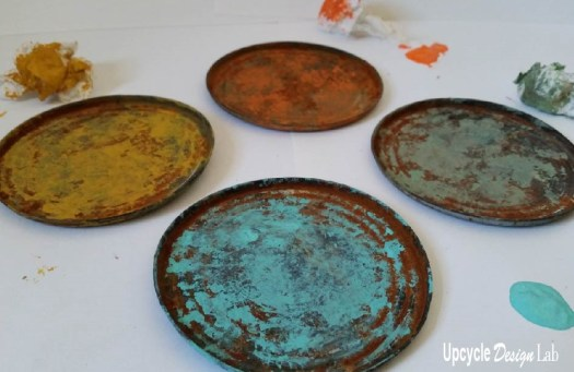 Painted tin ca lids