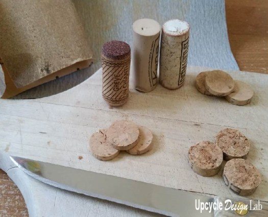 Cutting thin slices of wine cork