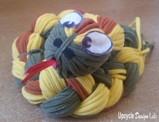 Tri-colored t-shirt yarn snake toy