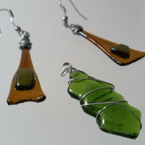 Brown and Green fused glass pendant and earring set upcycled from bottle glass
