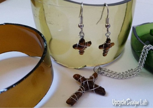 Fused Glass Pendant and Earrings Upcycled from beer bottle