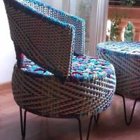 Colorful tyre furniture by The Retyrement Plan