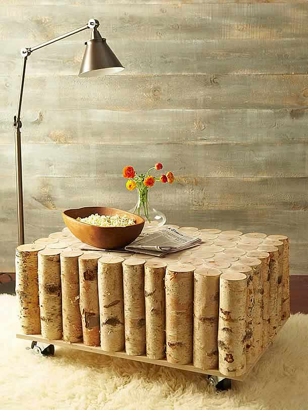 diy birch log coffee table by bhg