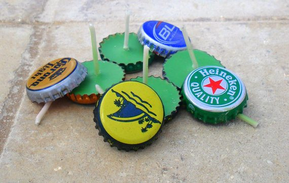 upcycled beer cap candles