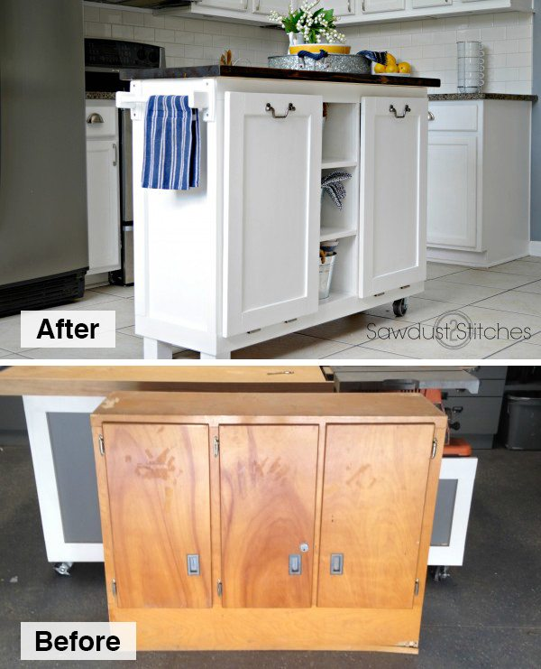 DIY Kitchen Island Made From A $5 Garage Sale Cabinet