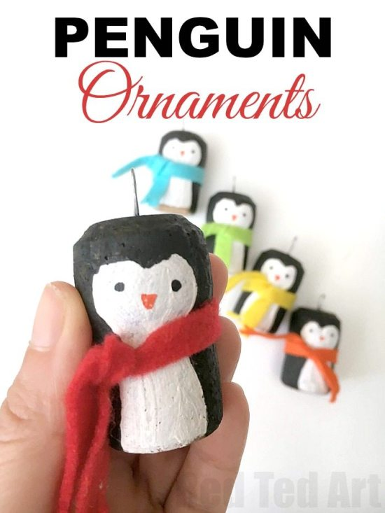 cork ornaments - penguins