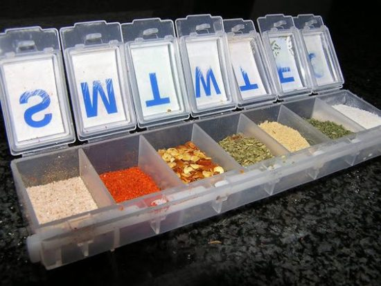 Camping hacks - pill box spices
