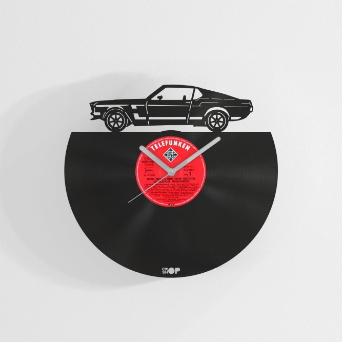 Ford Mustang wall clock from upcycled vinyl record (LP)