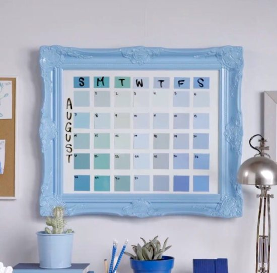 Dorm room ideas - paint chip calendar