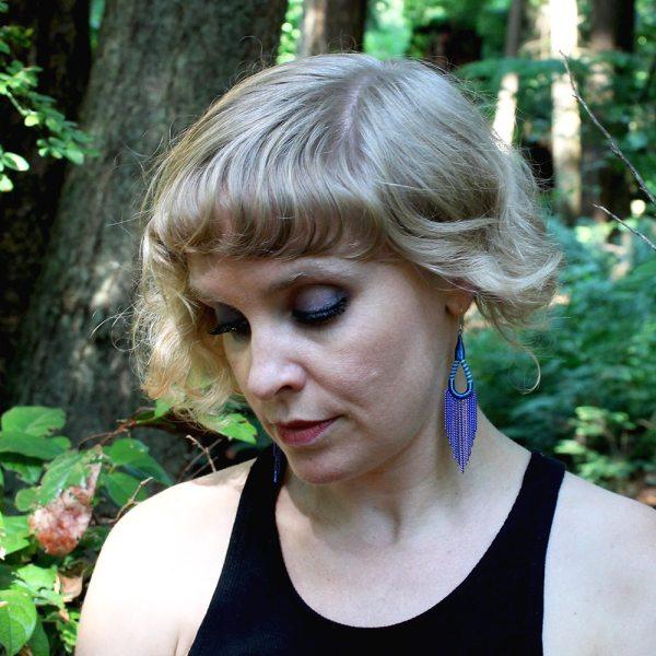 Flip flop earrings - double blue