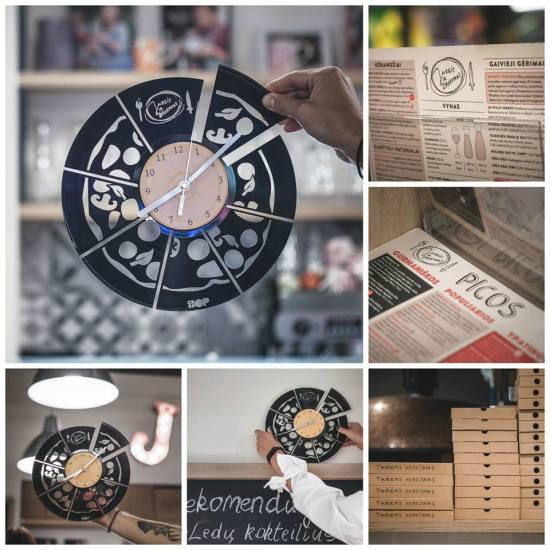 Pizza record clock