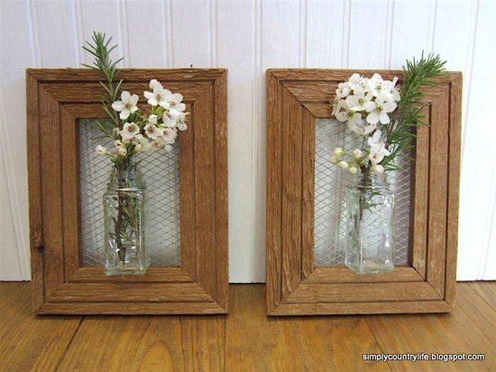 Repurpose Old Picture Frames - Flower Vases
