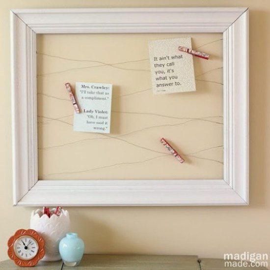 Repurpose Old Picture Frames - Wire Memo Board