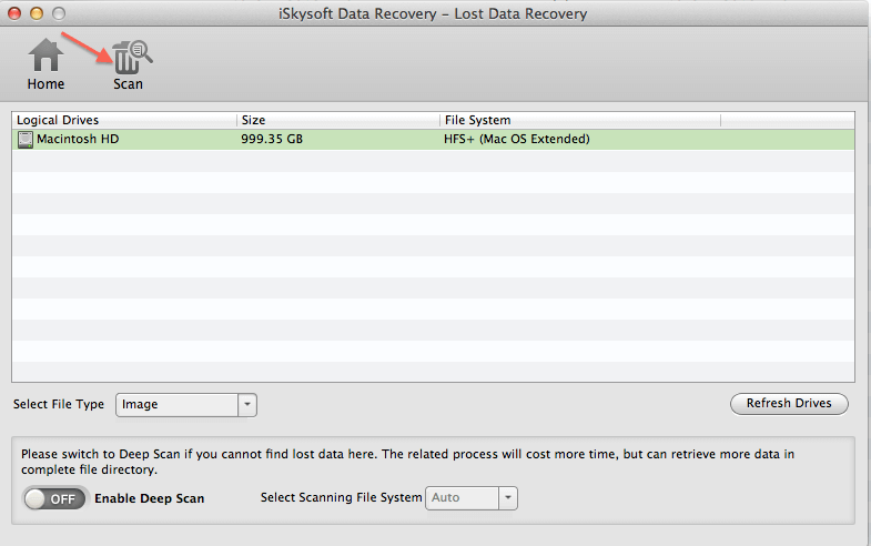 iskysoft-data-recovery-interface