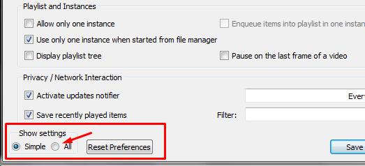 set Preferences