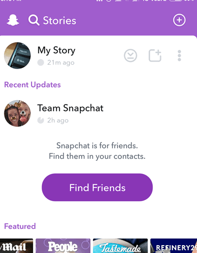 Snapchat Stories page