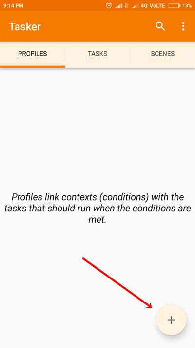 Tasker Profile tab