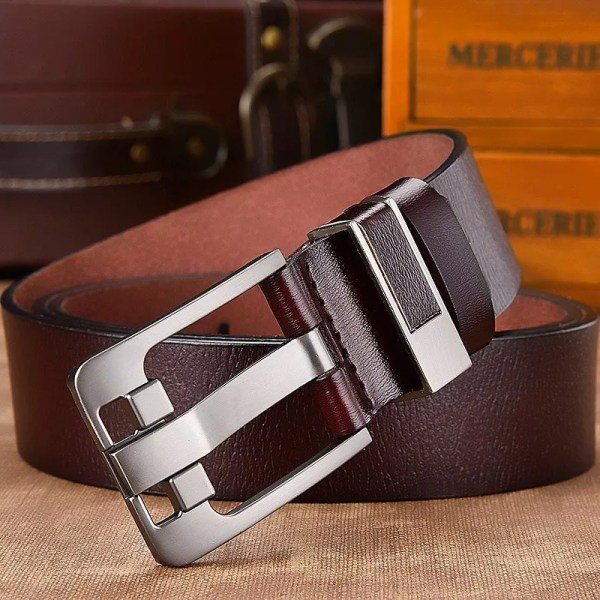 Men's Genuine Leather Belt with Luxury Pin Buckle 3