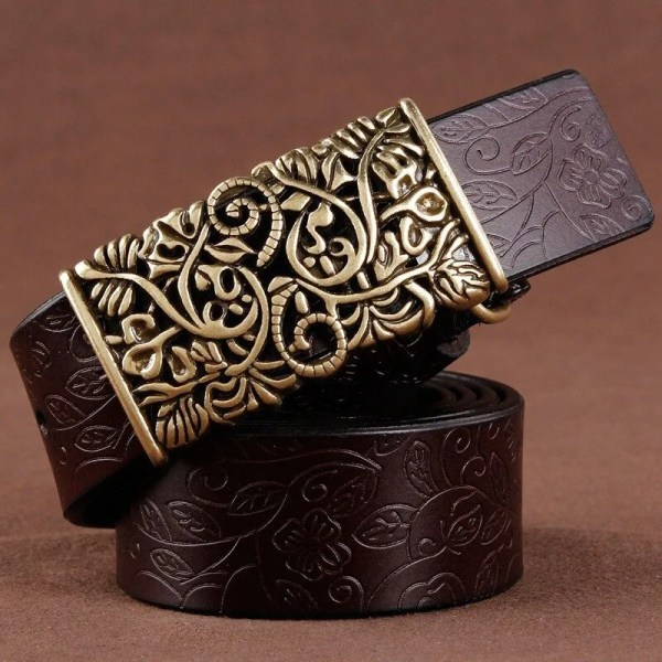 Women Fashion Luxury Genuine Top Quality Leather Belt 4