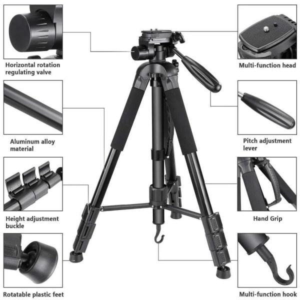 Portable 70 inches/177 cm Aluminum Alloy Camera Tripod 2