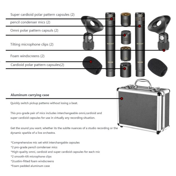 Neewer Omni 2-Pack Pencil Stick Condenser Microphones 4