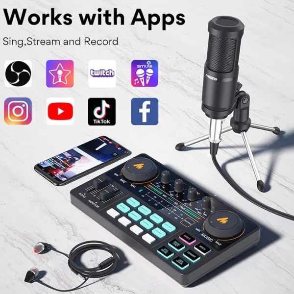 Podcasting Set with Audio Interface and Condenser Microphone 3
