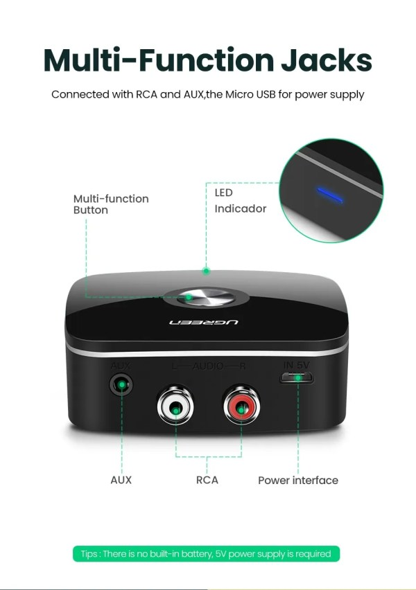 Bluetooth RCA Receiver 5.0 aptX 3.5mm Jack Aux Wireless Adapter 1