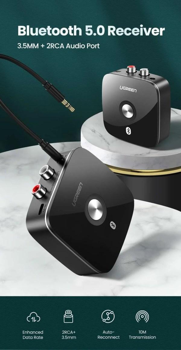 Bluetooth RCA Receiver 5.0 aptX 3.5mm Jack Aux Wireless Adapter 5