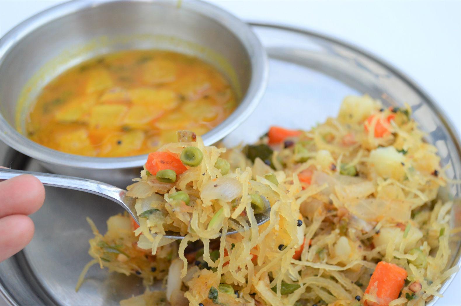 Low Carb Semiya Upma recipe using spaghetti squash
