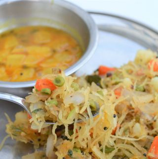 Low Carb Semiya Upma recipe using spaghetti squash