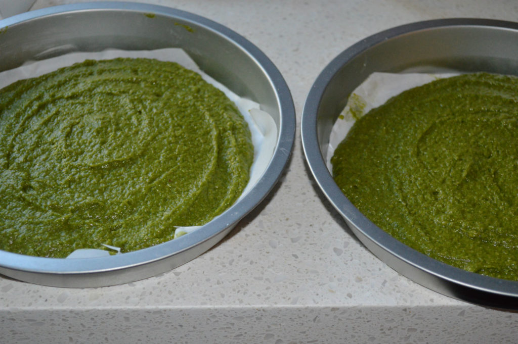 Kale cake batter in pans