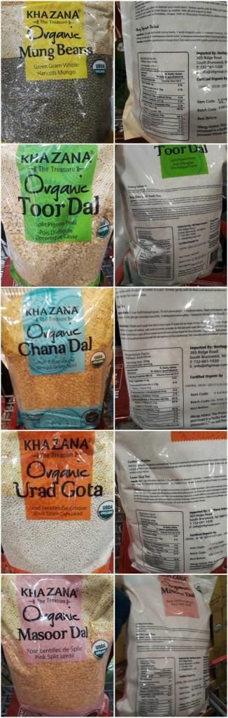 Lentils Nutrition label