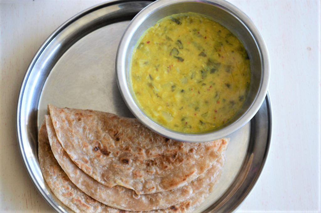 Lettuce dal, a healthy Indian soup made with lentils and lettuce, easy and great way to use up leftover lettuce | upgrademyfood.com