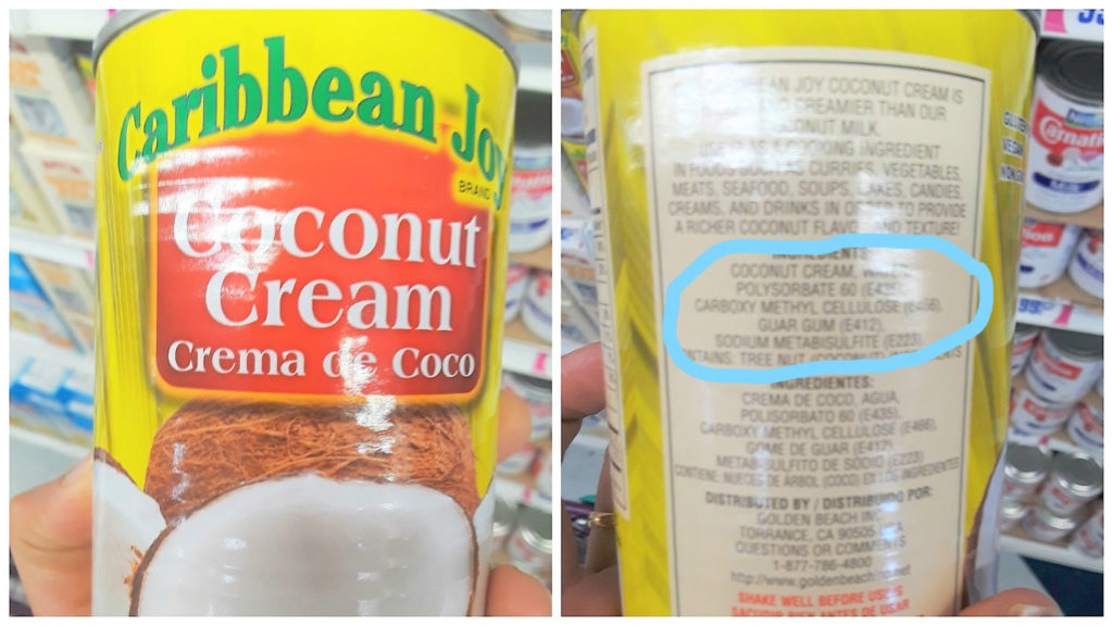 coconut milk with preservatives