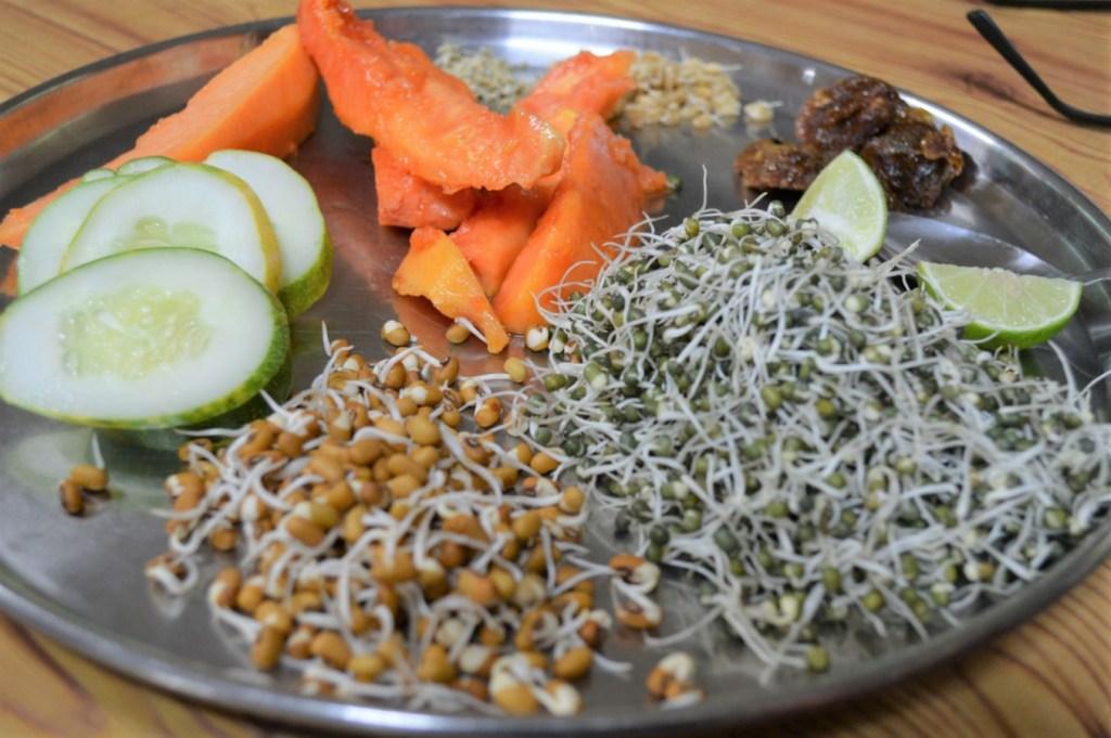 raw sprouts at manthena raju ashram