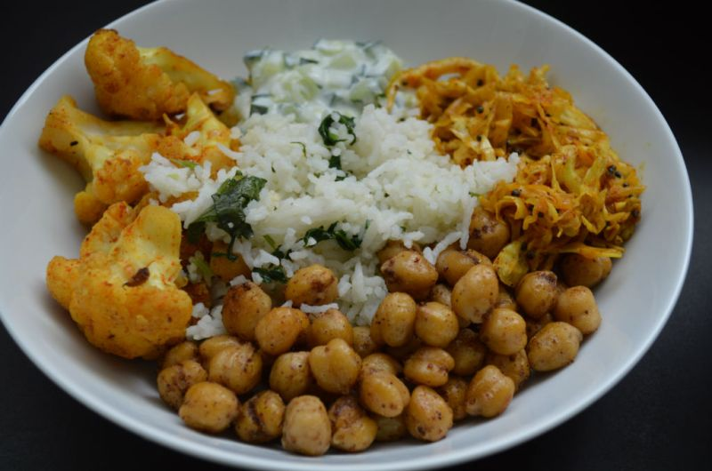 Indian Spiced Vegetarian Chickpea Rice Bowl