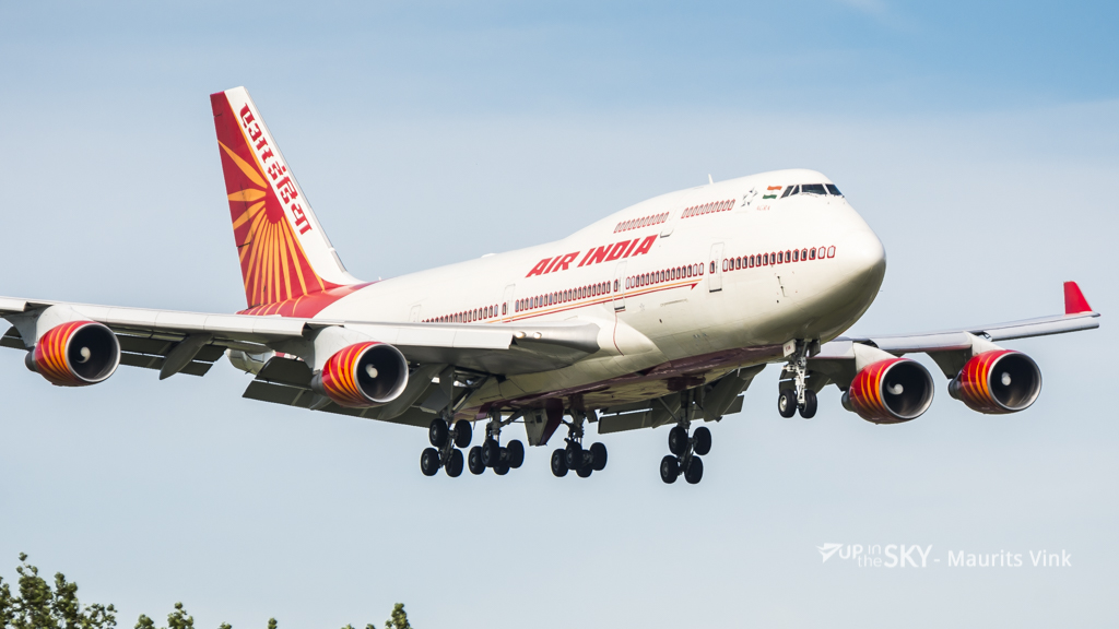 Air India One geland op Schiphol - foto's