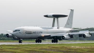 Een Boeing E-3A Sentry 'AWACS' van de NATO Airborne Early Warning & Control Force (AEW&CF), gestationeerd op de vliegbasis Geilenkirchen.